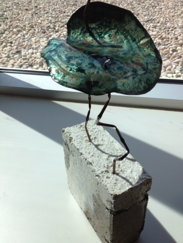 Concrete, silver, copper and enamel