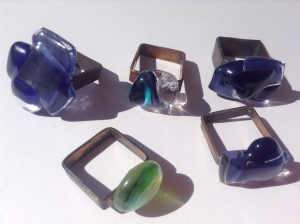 recycled glass square rings